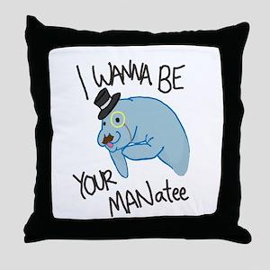 MANatee Black Throw Pillow