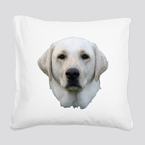 White lab 3 Square Canvas Pillow