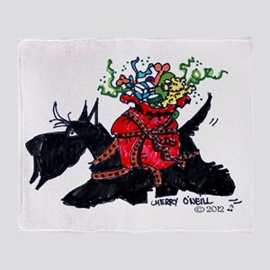 Scotttie Santas Helper Throw Blanket