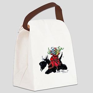 Scotttie Santas Helper Canvas Lunch Bag