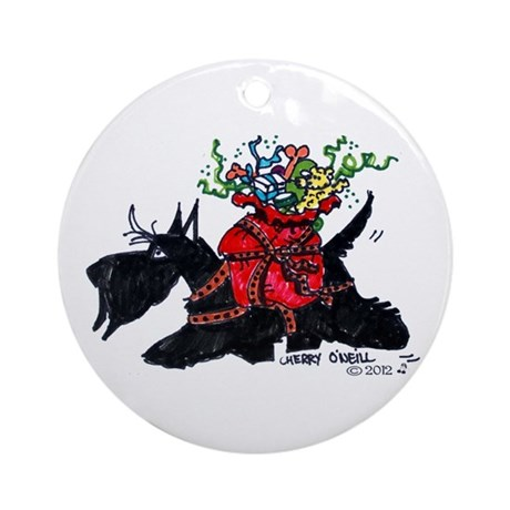 Scotttie Santas Helper Ornament (Round)