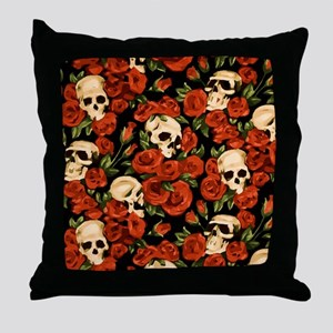 Watercolor Skulls and Roses Throw Pillow