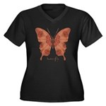 Beloved Butterfly Women's Plus Size V-Neck Dark T-