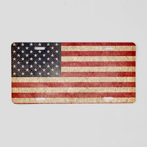 US Faded Flag Aluminum License Plate