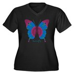 Salvation Butterfly Women's Plus Size V-Neck Dark