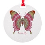 Sweetness Butterfly Round Ornament