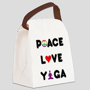 Peace Love Yoga Canvas Lunch Bag