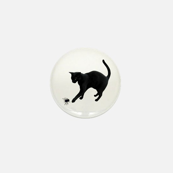 Black Cat Spider Mini Button