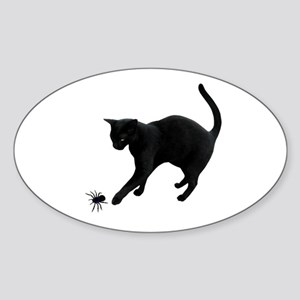 Black Cat Spider Sticker (Oval)
