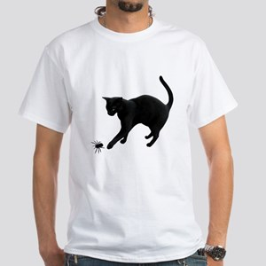 Black Cat Spider White T-Shirt