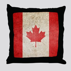 Faded Canadian Flag Throw Pillow