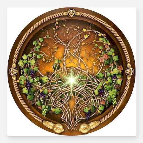 "Sacred Celtic Trees - Vine Square Car Magnet 3"" x"