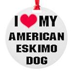 American Eskimo Dog Round Ornament