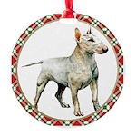 White Bull Terrier Round Ornament