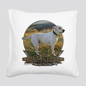 White lab loyalty Square Canvas Pillow