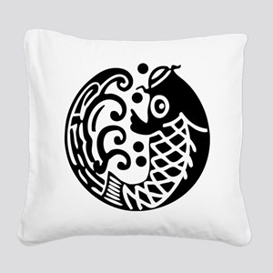 carp and wave Square Canvas Pillow