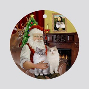 Santa's Two Ragdoll cats Ornament (Round)