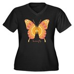 Romance Butterfly Women's Plus Size V-Neck Dark T-
