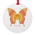 Romance Butterfly Round Ornament