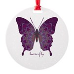 Centering Butterfly Round Ornament