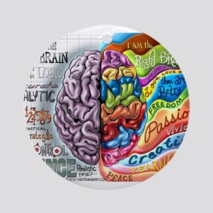 Left Brain Right Brain Cartoon Poster Ornament (Ro