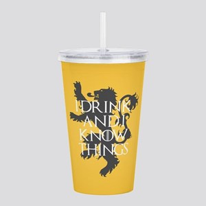 I Drink and Know Thin Acrylic Double-wall Tumbler