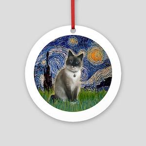 Starry Night - Snow Shoe cat Ornament (Round)