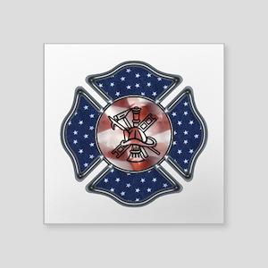 """Patriotic Fire Dept Square Sticker 3"""" x 3&quo"""