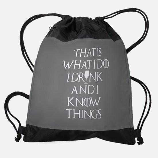 I Drink and Know Things Grey FB Drawstring Bag