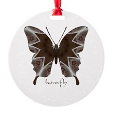 Namaste Butterfly Round Ornament