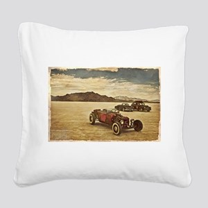 Hot Rods at Bonneville Square Canvas Pillow