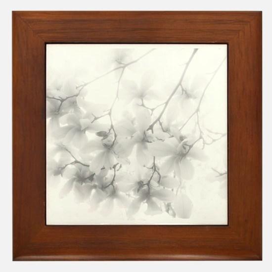 Ethereal Magnolia Blossoms Framed Tile