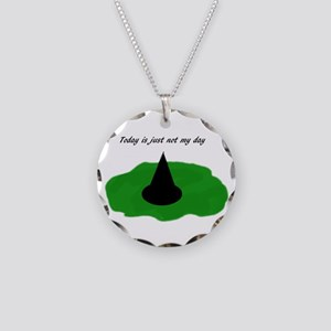 Melted witch Necklace Circle Charm