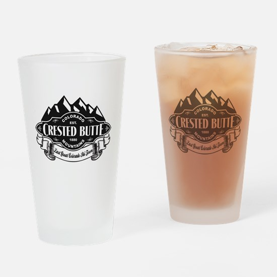 Crested Butte Mountain Emblem Drinking Glass