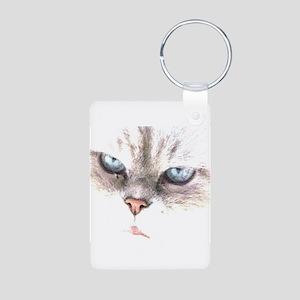 blue eyes Aluminum Photo Keychain