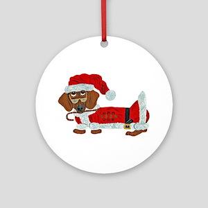 Dachshund Candy Cane Santa Ornament (Round)