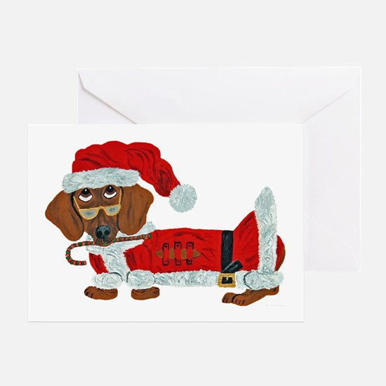 Dachshund Candy Cane Santa Greeting Card