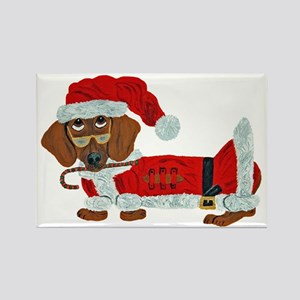 Dachshund Candy Cane Santa Rectangle Magnet
