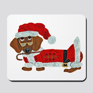 Dachshund Candy Cane Santa Mousepad