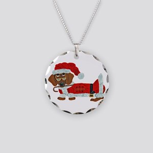 Dachshund Candy Cane Santa Necklace Circle Charm