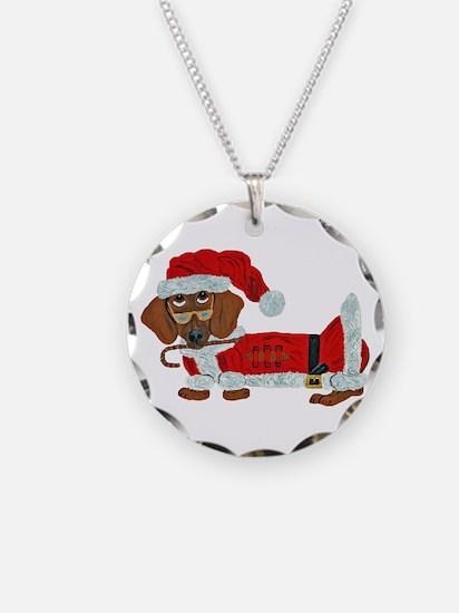 Dachshund Candy Cane Santa Necklace