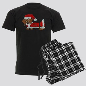 Dachshund Candy Cane Santa Men's Dark Pajamas