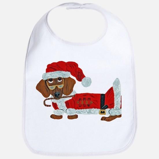 Dachshund Candy Cane Santa Bib