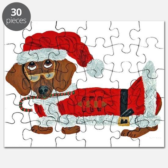 Dachshund Candy Cane Santa Puzzle