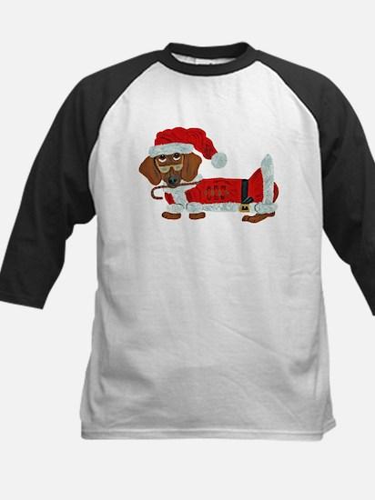 Dachshund Candy Cane Santa Kids Baseball Jersey