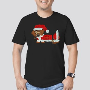 Dachshund Candy Cane Santa Men's Fitted T-Shirt (d