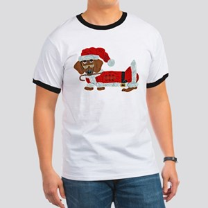 Dachshund Candy Cane Santa Ringer T