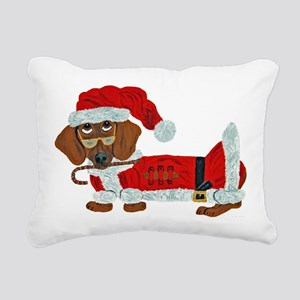 Dachshund Candy Cane Santa Rectangular Canvas Pill