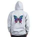 Exuberant Butterfly B Zip Hoodie