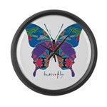 Exuberant Butterfly Large Wall Clock